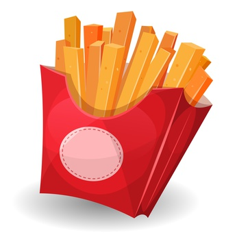 Illustration of cartoon yummy french fries inside red carton package with sign, for snack restaurant and takeaway food