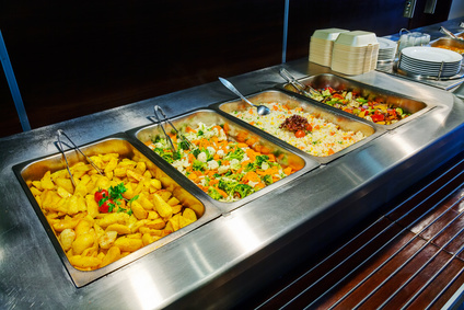 Self service restaurant with a variety of salads, soups and side dishes